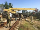 Activists block railroad to Firtash`s Crimean plant with concrete bricks and anti-tank hedgehog, - media. PHOTOS