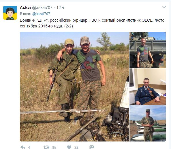 Russian officer and DPR militants taking pictures with downed OSCE drone 02