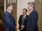 Poroshenko meets US Ambassador Geoffrey Pyatt and Ambassador of Italy Fabrizio Romano as they completed their missions to Ukraine. PHOTO