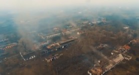 Aftermath of Balakliia depot fire. DRONE VIDEO