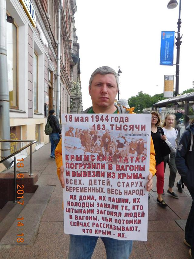 40 Crimean Tatars kidnapped, 11 killed, 17 arrested, 64 kids orphaned: people protest in St. Petersburg in support of Crimean Tatars 03