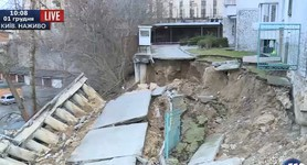 Groundwater caused collapse of load bearing wall of apartment house in Kyiv: evacuation of residents underway. PHOTO
