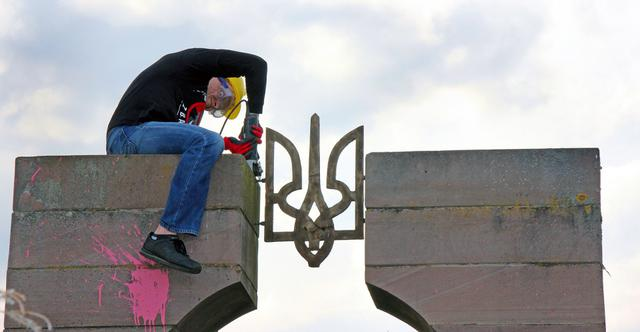 Polish nationalists dismantled monument to Ukraines UPA fighters in Przemysl area 05