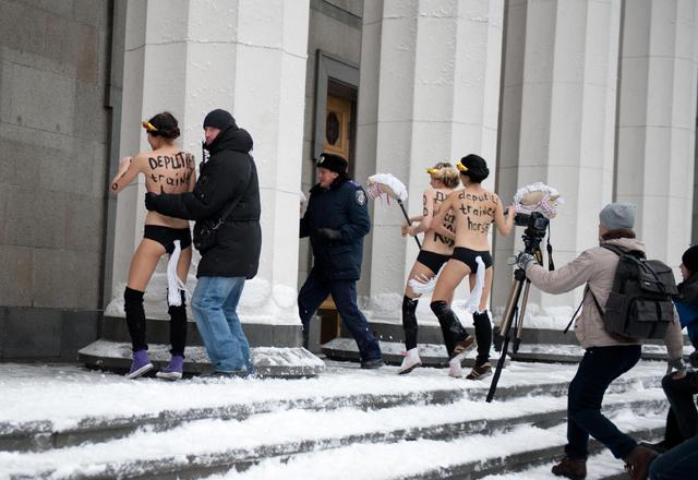 Naked Femen Activists Broke Through into Parliament 01