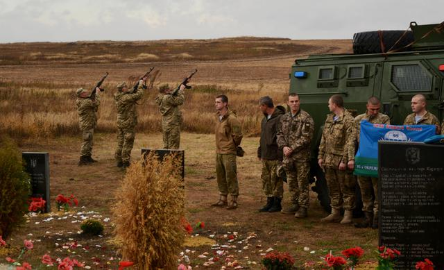 Heavenly Hundred and volunteer fighters monument unveiled on Karachun mountain in Donetsk region 06
