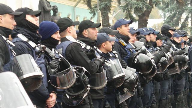 Protests near Rada building in Kyiv on Oct. 17 11